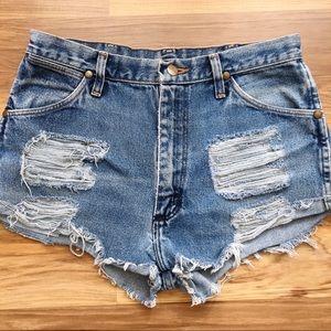 Vintage Wrangler Distressed High Waisted Shorts